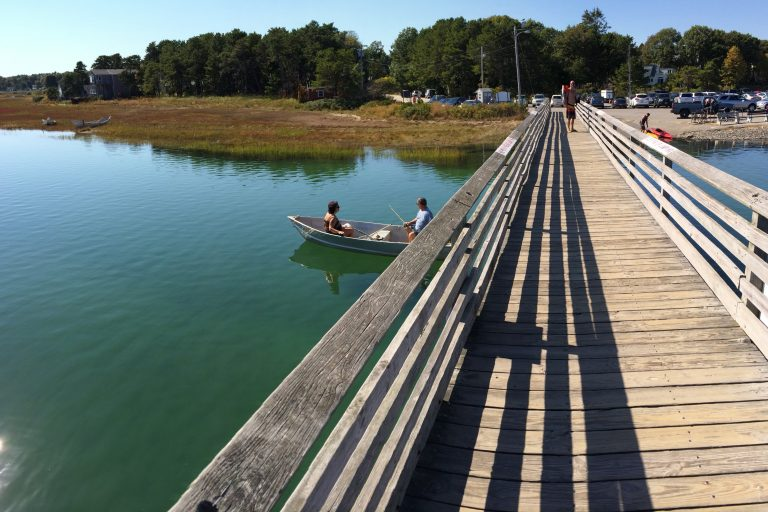 Walking bridge with Footbridge Beach parking-lot in Ogunquit, Maine