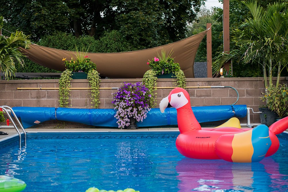 Colorful pool floats